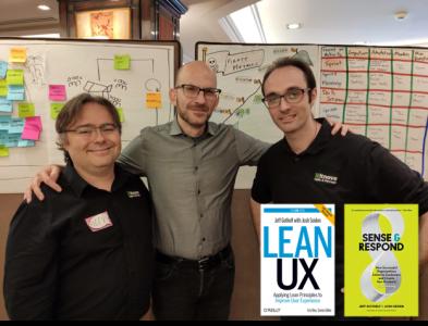 Jeff Gothelf con Alex Ballarin y Guillem Hernandez de ITNOVE